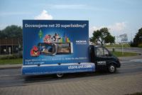 Nokia reklamine kamapanija, Klaipeda, Nida, Palanga, reklaminis velomobilis, reklamos masinos, advertising bike, promobike