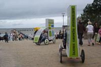 Informacine/Reklamine kampanija - Žaliosios europieciu atostogos 2011, reklaminis velomobilis, reklamos masinos, advertising bike, promobike